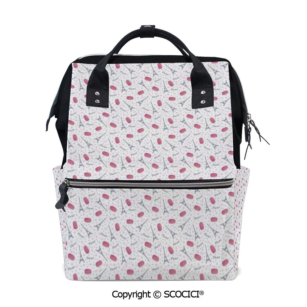 SCOCICI 3D Printed Laptop Daypack,Famous Traditional French Food Tasty Macaroons Delicious Retro Deserts Dots,Vivid Custom Graphic Design