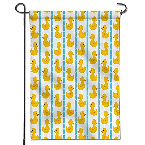 SOCOMIMI Inspirational Garden Flag Yellow Duckies with Blue