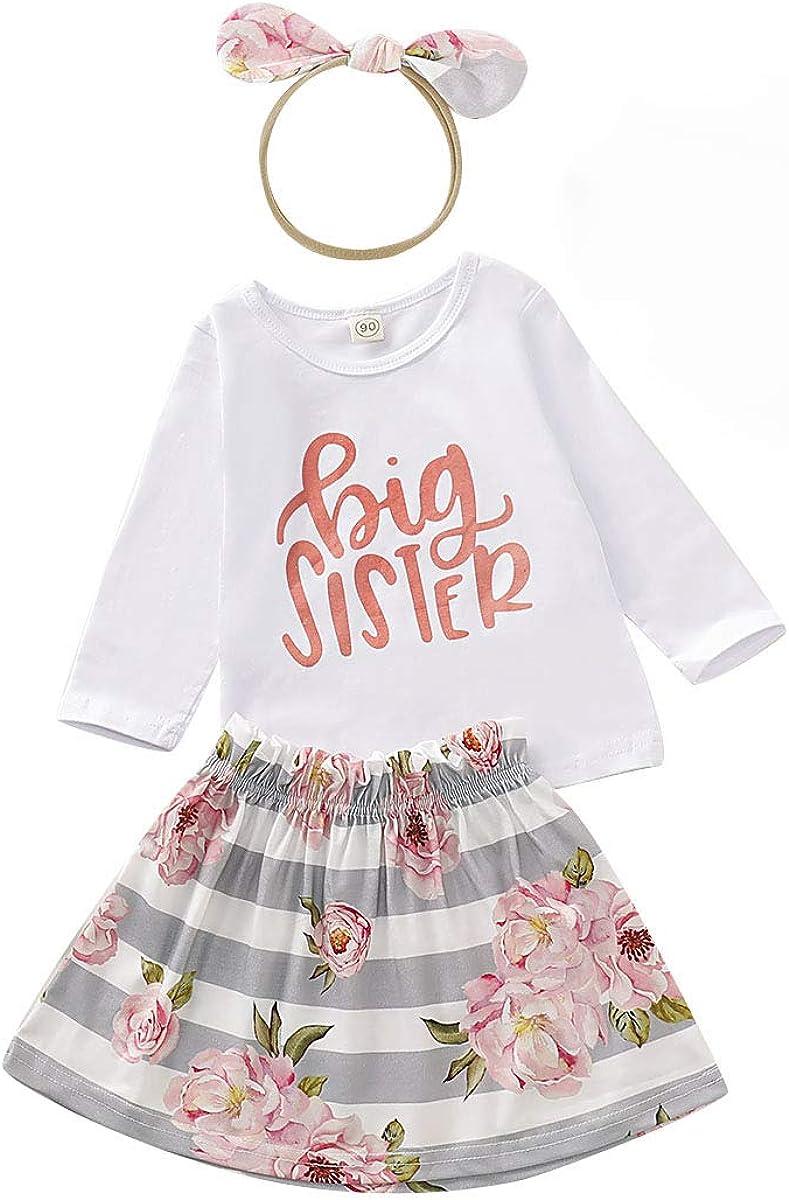 Blume Hosen oder Party Tutu Rock Outfits Set Kleinkind Kinder Baby M/ädchen Big Sister Little Sister Langarm Strampler oder T-Shirt Top