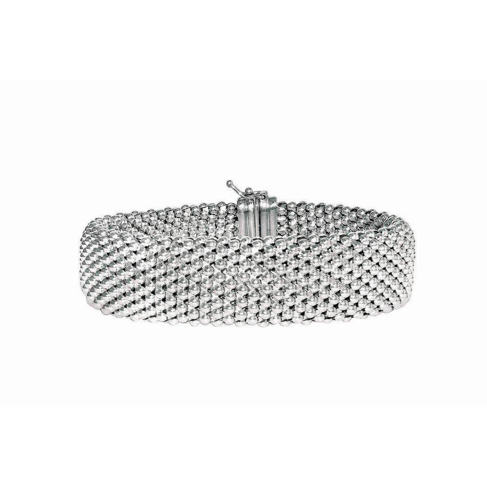 Sterling Silver Rhodium Plated 7.5 Inch Fancy Bracelet