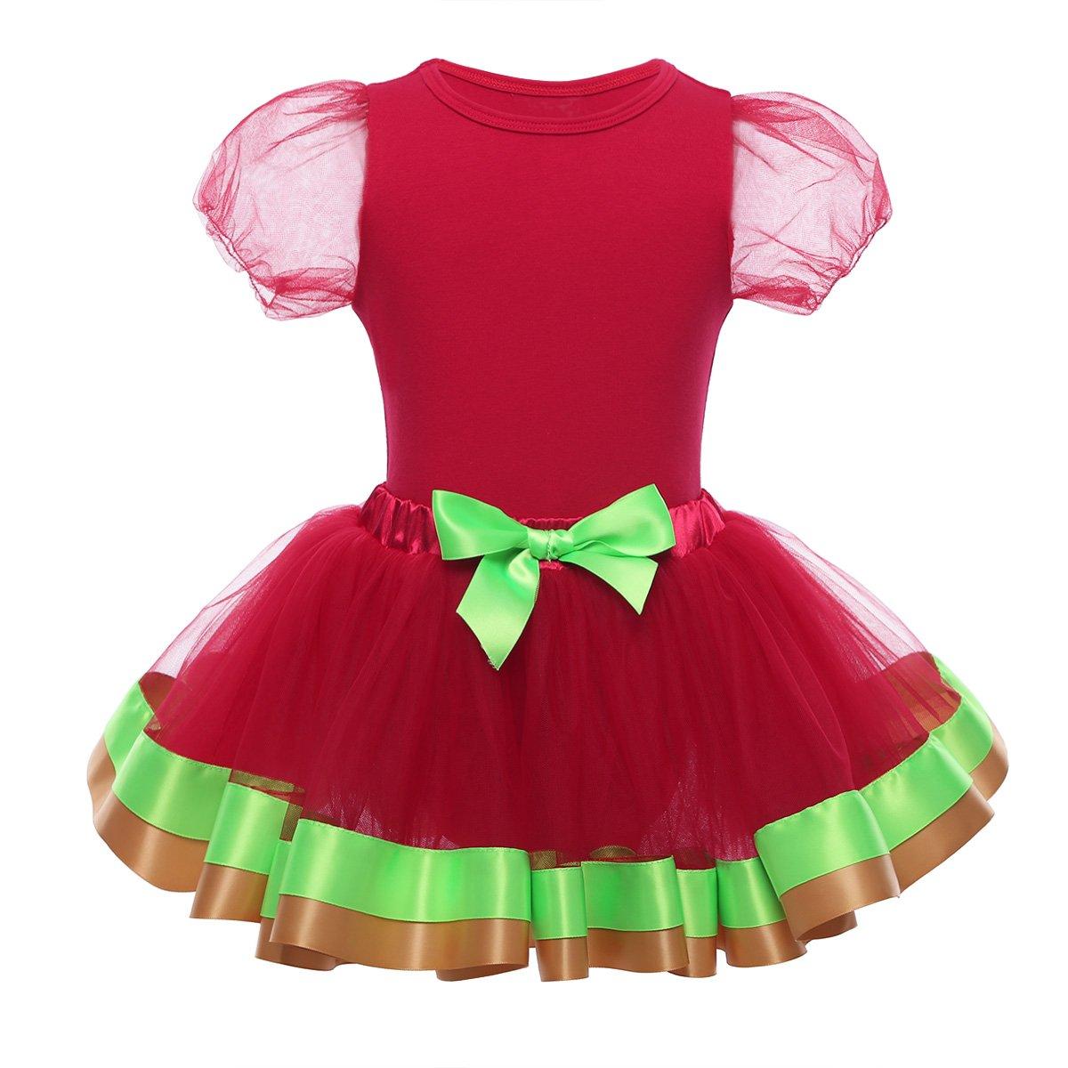 9614a74747b63 MSemis Bébé Fille Déguisement de Santa Robe de Noël Body Combinaison à  Manche Courte Bodysuit Tutu Robe Nouvelle Année Rouge ...