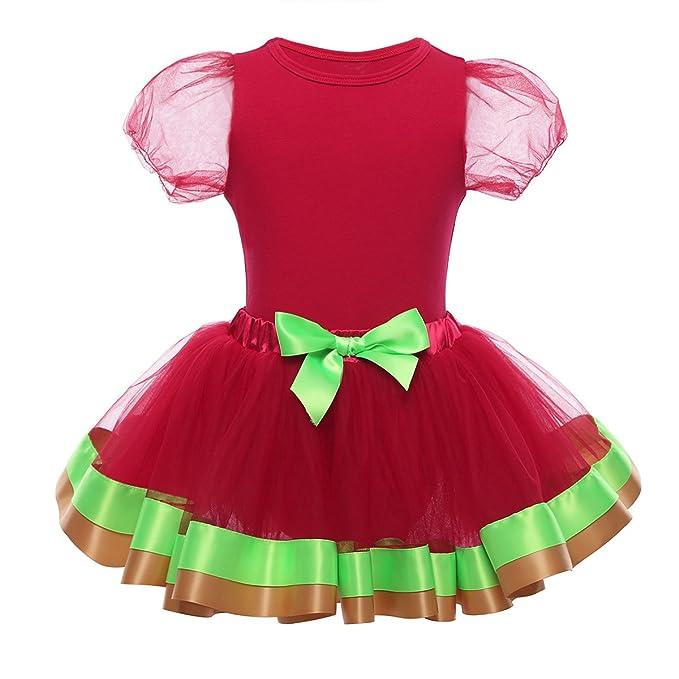 CHICTRY Disfraz de Navidad para Bebé Niña Vestido de Princesa Fiesta Conjunto Ropa Body Pelele Rojo de Algodón + Falda Tutu De Malla Infantil: Amazon.es: ...