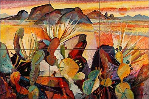 Artwork On Tile Ceramic Mural Backsplash Southwest by Warren Cullar Kitchen Shower Bathroom (18'' x 12'' - 6'' tiles) by Artwork On Tile (Image #1)