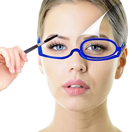 3b1539a33cd Amazon.com   Readers Magnifying Makeup Glasses Eye Make Up Spectacles Flip  Down Lens Folding CosmeticReading Glass Eyeglasses (3.5