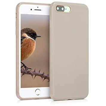 kwmobile Funda para Apple iPhone 7 Plus / 8 Plus - Carcasa para móvil en TPU Silicona - Protector Trasero en Crema Mate