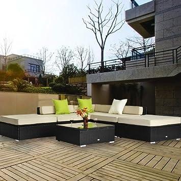Salon de jardin canape d\'angle resine tresse poly rotin noir 18 pcs ...