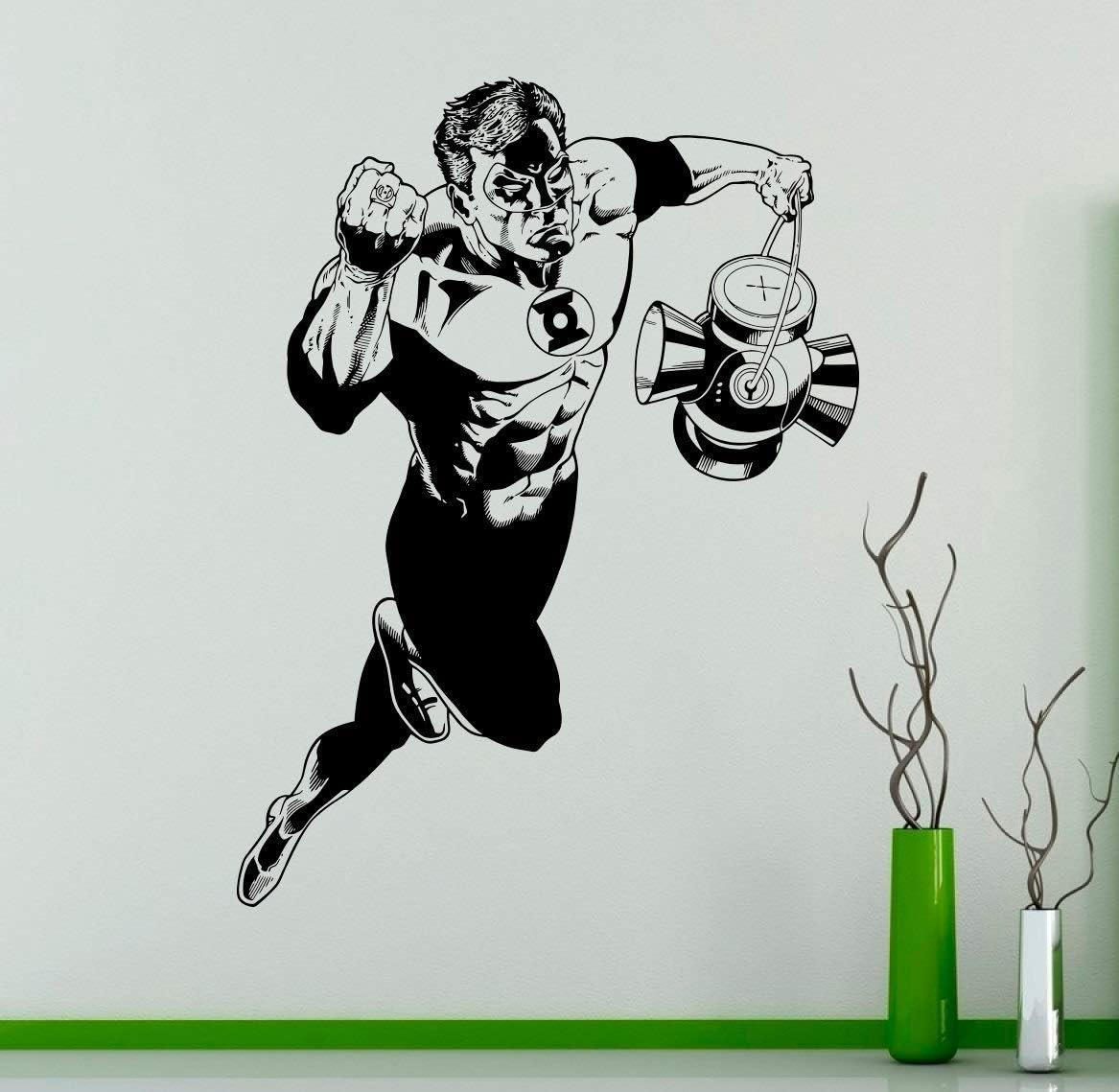 Place Green Lantern Superhero Wall Vinyl Decal Comics Wall Sticker Home Interior - Bedroom Decor Kids Room Wall Design Made in USA - 22x35 Inch