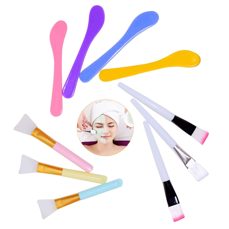 10Pcs Soft Face Mask Brush Set, Coming with 3Pcs Silicone Mask Brushes, 3Pcs Synthetic Mask Brushes and 4Pcs Mask brush Spoon Stick for Facial & Body Mud Mask Applicator Brush