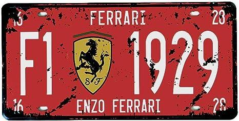 ricco e famoso Ferrari Logo Badge auto Da Corsa squadra super Auto California Enzo Nero Stallion calamita Metallo//Targa Da Parete In Acciaio Italiano classico motore carrozze F40 9 x 6.5 cm Ragno GTO