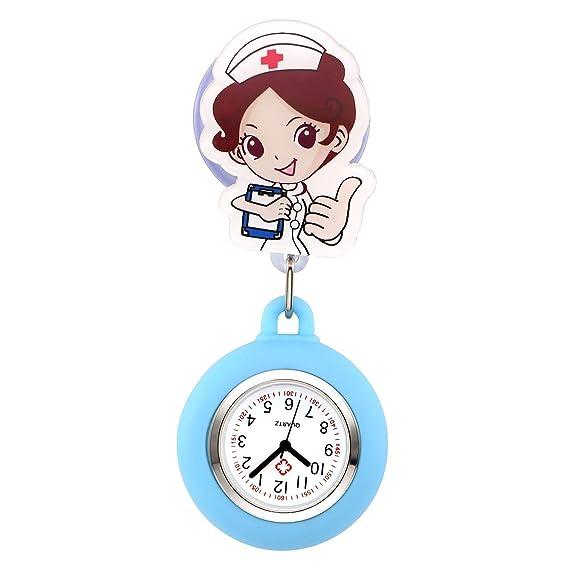 jsdde Enfermera Reloj Pulso Reloj Nurse Watch Bata Reloj Silicona Dibujos Animados Ángel Reloj de Bolsillo Enfermera con Clip # 8: Amazon.es: Relojes