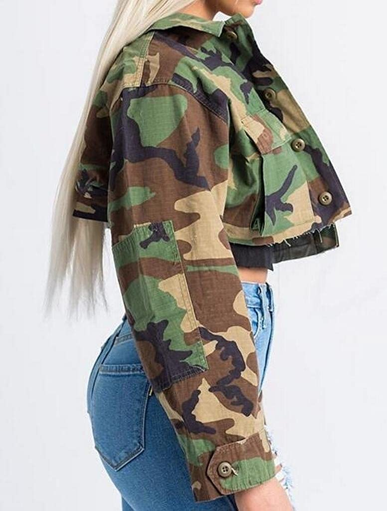 89eef6c9d5c0b LD Womens Military Camo Print Button up Short Crop Jacket Coat Outwear at  Amazon Women s Coats Shop