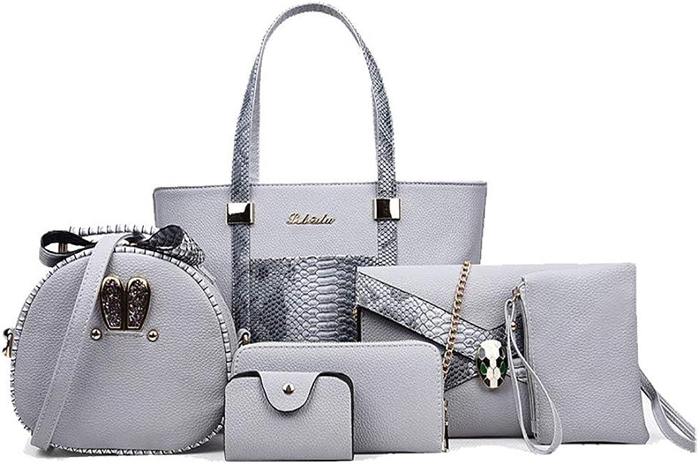 AlipherWomen Handbag 6PCS Set Fashion Crossbody Bag MultiPurpose Tote Bag Ladies Messenger Bag And Card Purse