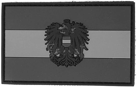 Steinadler Klettflagge Österreich Pvc Klettflächen Patch Als Emblem Für Armee Uniform Und Jacke Flagge Mit Österreich Wappen Schwarz Grau Küche Haushalt