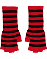 Fingerless knit Gloves - Comes in several colors! (Black/Red)