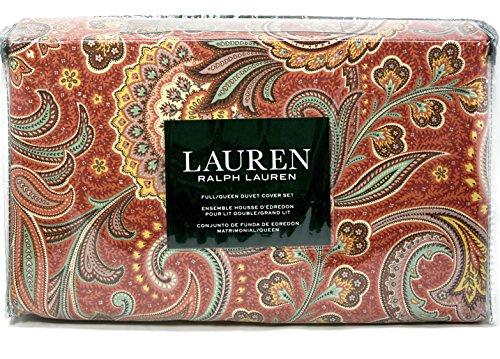 (Ralph Lauren red blue paisley queen full duvet cover set cotton)