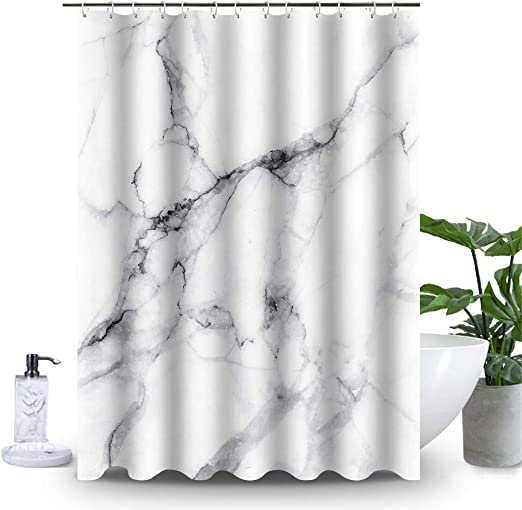 Amazon Com Uphome Marble Bathroom Shower Curtain White And Grey