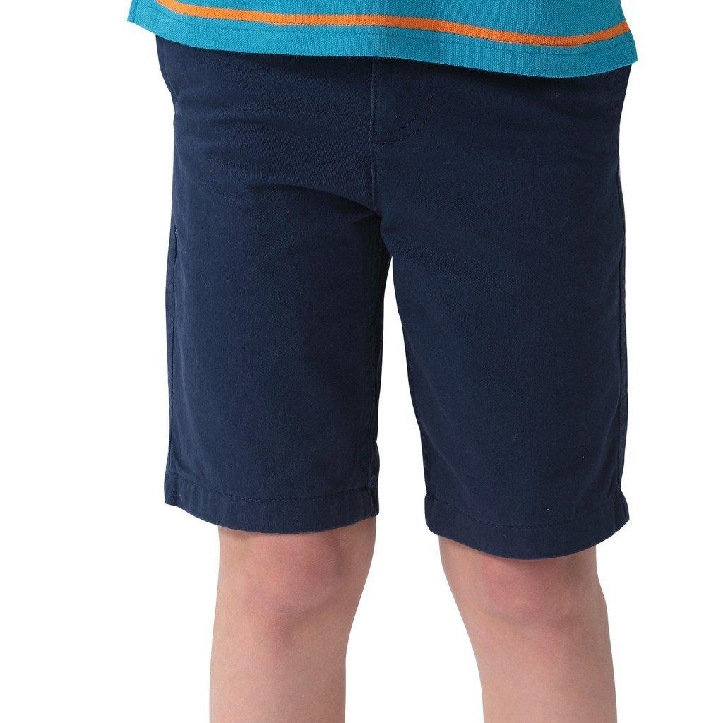 Leo&Lily Boys' Kids Elastic Waist Casual Fine Cotton Chino Shorts (Navy, 6 Slim)