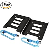 SNANSHI SSD Tray, 2.5 inch SSD HDD to 3.5 inch Metal Mounting Adapter Bracket Hard Drive Holder with 2 pcs 18 Inch SATA III 6.0 Gbps Cable