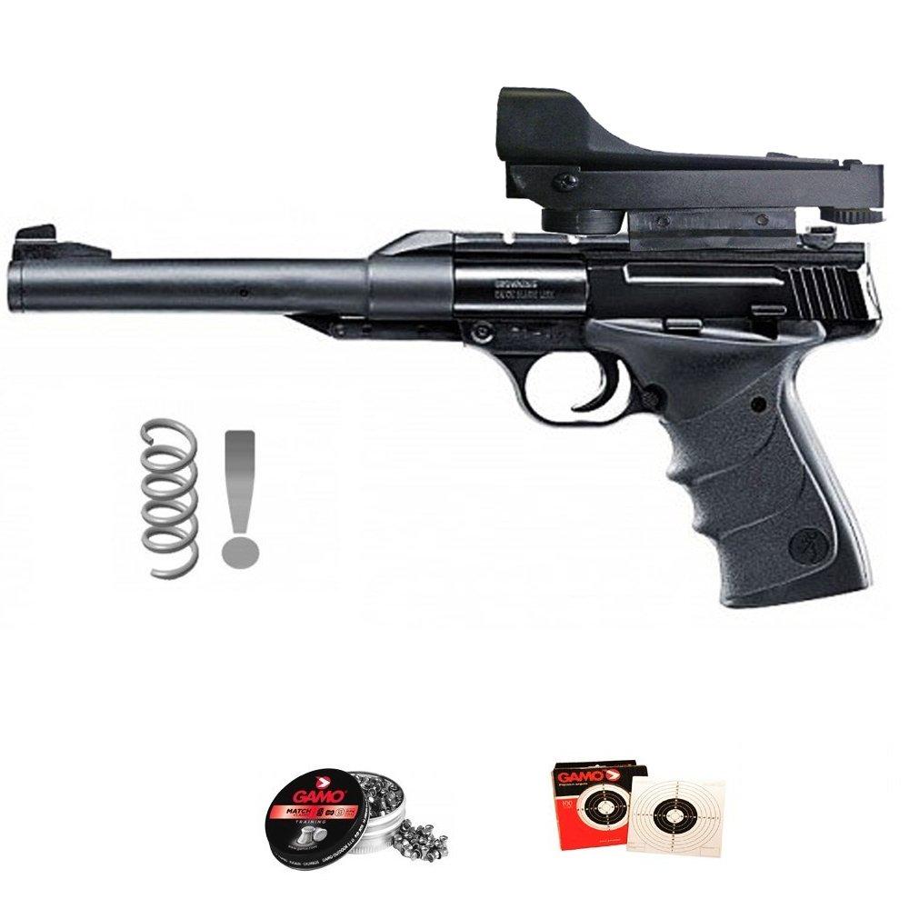 KIT Umarex Browning Buck Mark Urx (con visor holográfico) - Pistola de aire comprimido (muelle-resorte) calibre 4.5mm de perdigones de plomo 5J