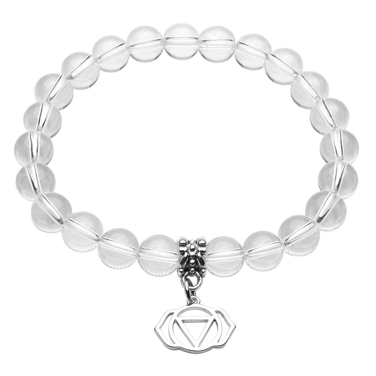 QGEM 2pcs Bracelet en Pierre Quartz Cristal de Roche Blanc Naturelle Pendentif \'Ajna\' pour Amoureux Meilleure Amie Femme Homme