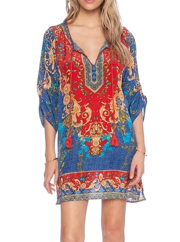 AIYUE Damen Boho Vintage V-Ausschnitt Halbarm mit Druck ethnische Art Sommer Etuikleid Tunika Strandkleid Sommerkleid