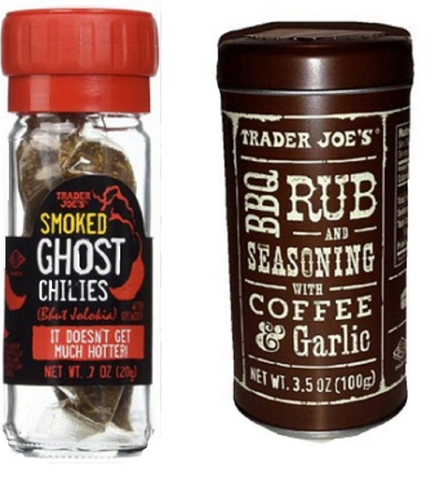 Gourmet Bundle -- 2 Trader Joe's Items: Smoked Ghost Chilies and BBQ Rub and Seasoning with Coffee & Garlic