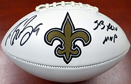 "0efb191ccb3 Drew Brees Autographed New Orleans Saints White Logo Football""SB XLIV  MVP"" ..."
