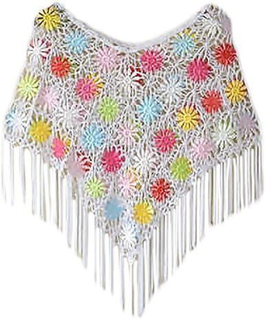 Poncho Mujer Elegantes Vintage Ganchillo Flores Hueco Chal Tops Verano Moda Casual Anchas con Borla Capa Manto