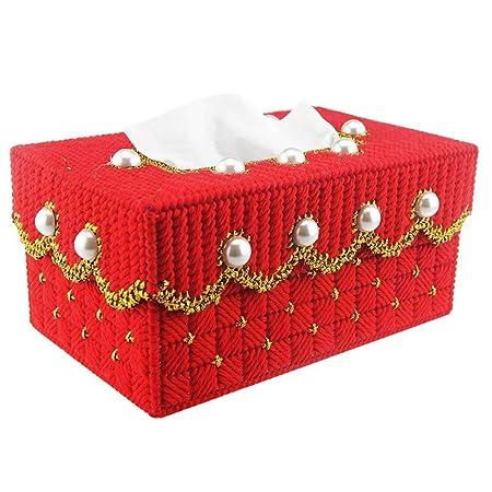 Jiaa Productos para el hogar con una Apariencia Moderna y Elegante Diseño de la Caja de Papel Dormitorio de la Suite de Punto de Cruz Estuche de Tejido ...