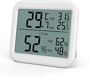 ORIA Thermometer Humidity Monitor, Digital Hygrometer Thermometer, Temperature Humidity Gauge Meter, ℃ and ℉ Switch, for Home, Office, Bedroom, Kitchen