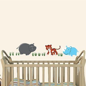 Amazon.com: Jungle Joy, Nursery Wall Art, Hippo, Tiger, Rhino, Baby ...