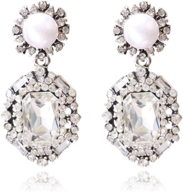 QYMX Pendiente Mujer, Pendientes Colgantes Grandes de Color Plata Pendientes de Cristal con Forma de lágrima de Novia Pendientes de Diamantes de imitación para Mujer Pendiente de Boda
