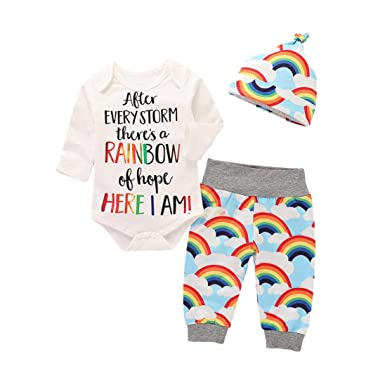 677e8b643 Xshuai ® Infant Baby Girls Boys Outfits Letter Print Romper Jumpsuit  Rainbow Pants Hat Clothes Set