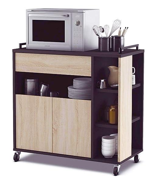 Abitti Mueble de Cocina Auxiliar para microondas en Color Negro y ...