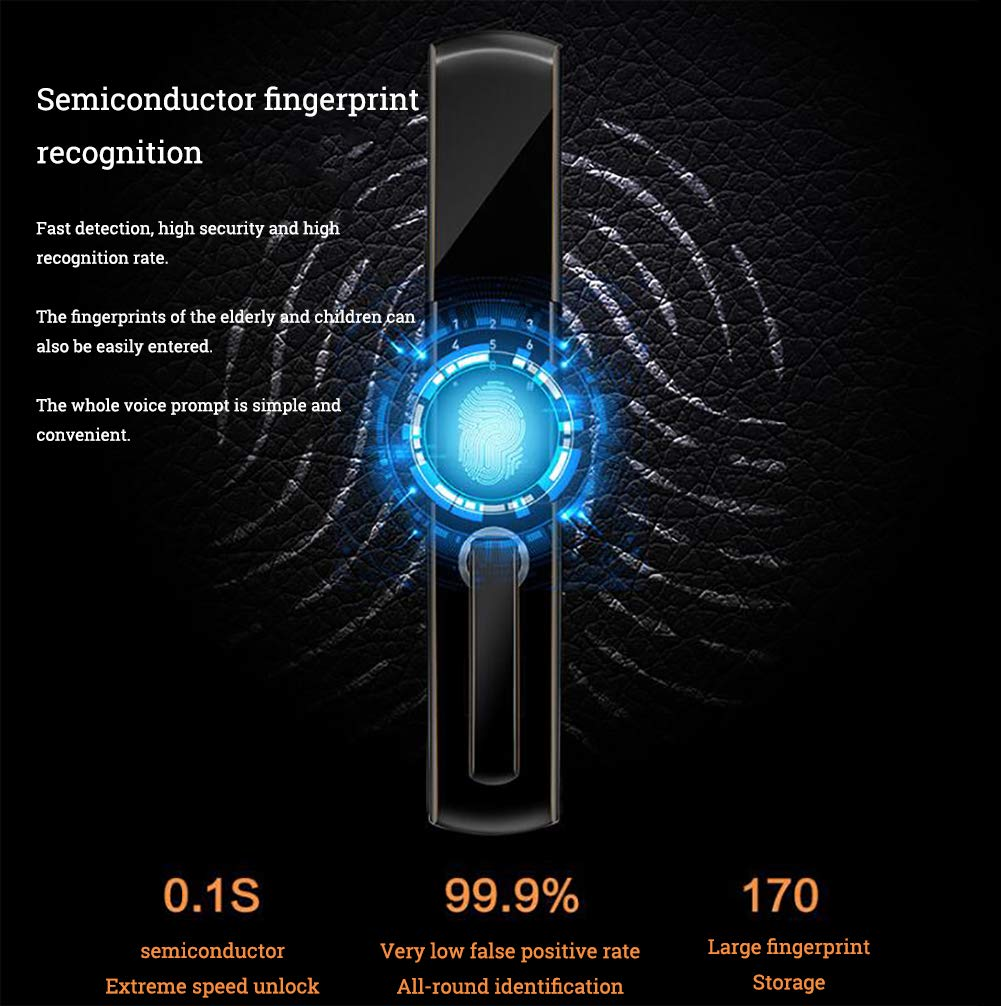 Smart Door Lock 5 in 1 semiautomatic Electronic Biometric Fingerprint Door Lock, Home Entry for Bedroom Apartment Office (Aluminum Alloy) by SFXYJ (Image #4)
