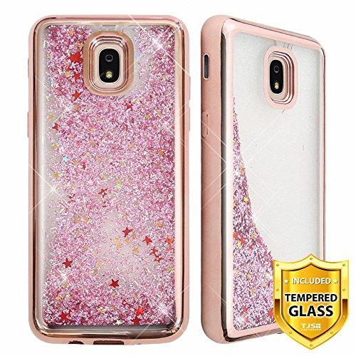 TJS Galaxy J7 2018/J7 Refine/J7 Star/J7 Eon/J7 TOP/J7 Aero/J7 Crown/J7 Aura/J7 V 2nd Gen Case, with [Full Coverage Tempered Glass Screen Protector] Hybrid Chrome Glitter Motion Phone Case (Rose Gold)