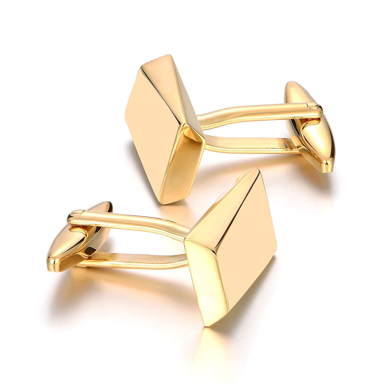 MERIT OCEAN Gold Classic Cufflinks for Men Stainless Steel Wedding Business Gifts