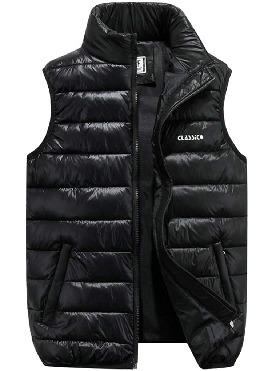 FLCH+YIGE Mens Plus Size Winter Warm Quilted Sleeveless Thicken Down Vest Jackets