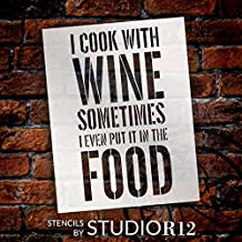 "I Cook With Wine - Word Stencil - 8 1/2"" x 11"" - STCL1338_1 by StudioR12"