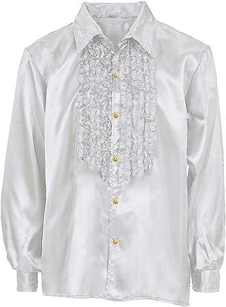 Alzapaños (satén Camisa Johnny para niños – La Brillante Camisas con Volantes en el Estilo de los años Ochenta 70 para niños y niñas