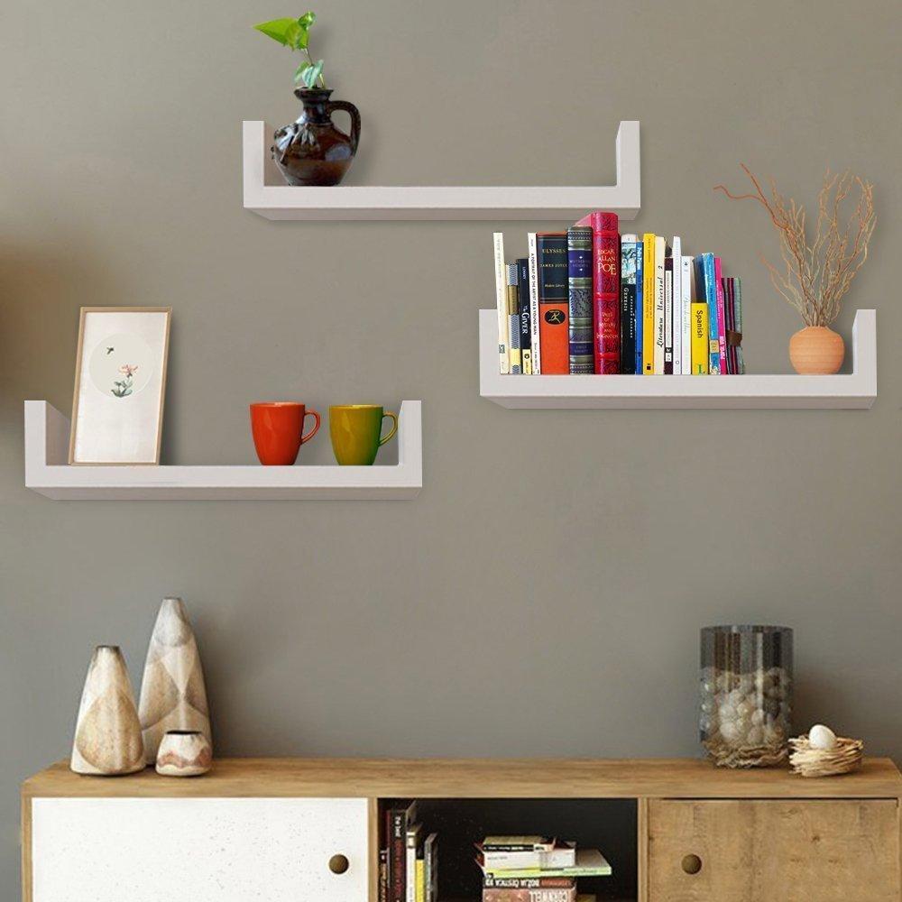 Set of 3 Floating Shelves U Shape Wall Mounted Bookshelf Storage Display Shelves (White)