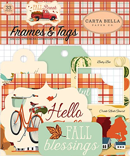 Carta Bella Paper Company CBFA88025 Fall Break Frames & Tags Ephemera, Orange, Yellow, Blue, Brown, Tan, Red