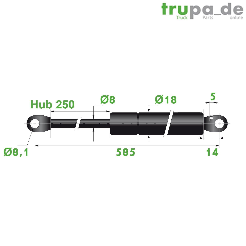 Gasdruckfeder Lift Haubenheber 700N Hub=200 L/änge 485//500 /Ø 10//21 mm -Made in EU Trupa