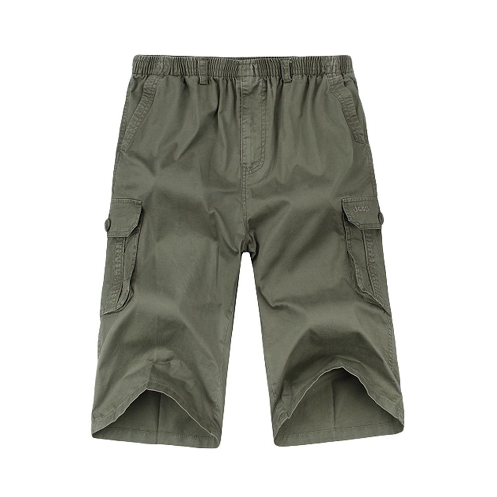 3c533ad610 Chickle Men's Cotton Loose-Fit 3/4 Long Cargo Shorts L Oliver Green |  Amazon.com