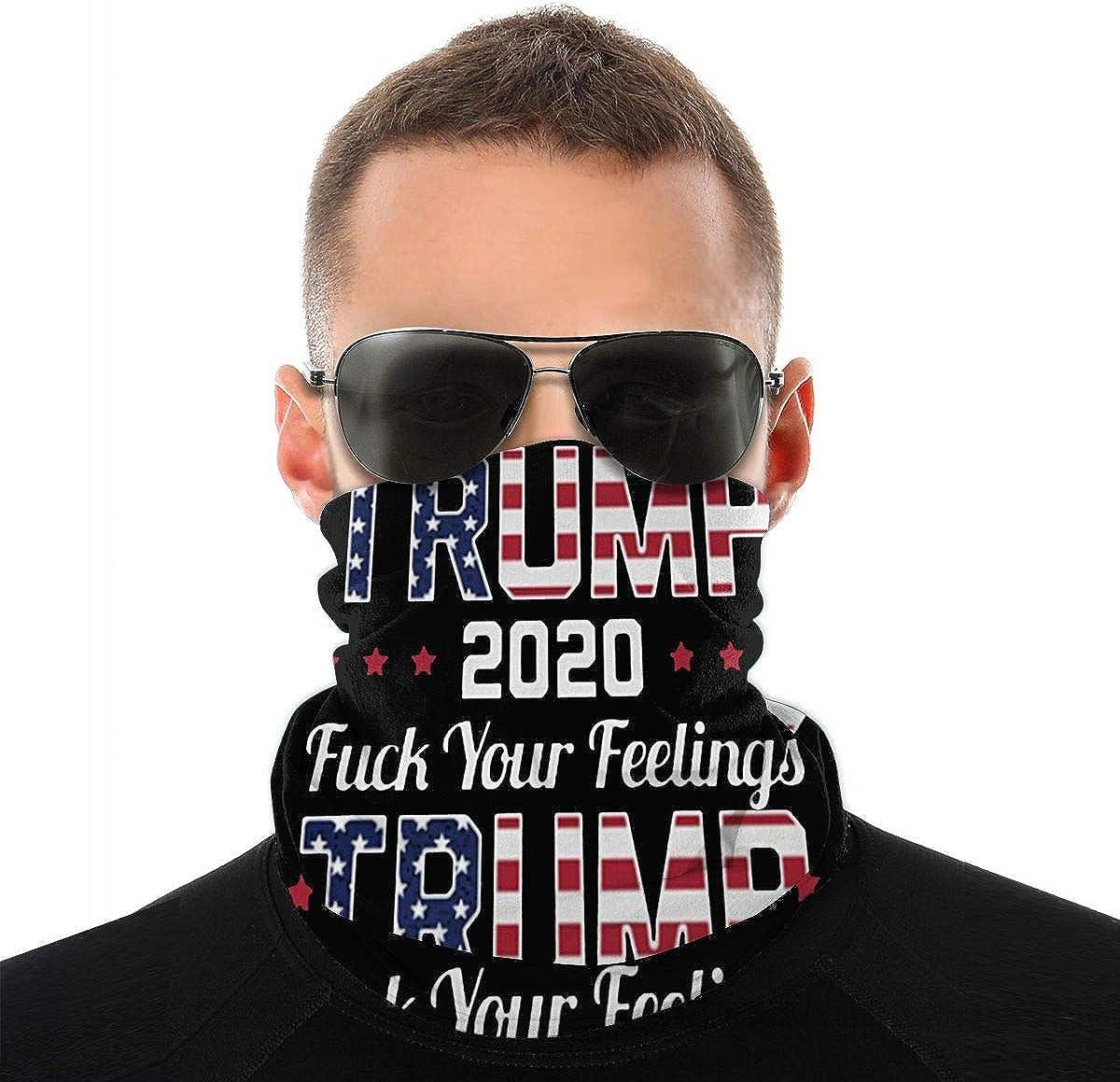 Trump 2020 Fuck Your Feelings American Flag Men Women Neck Warmer Face Mask Bandanas Hat