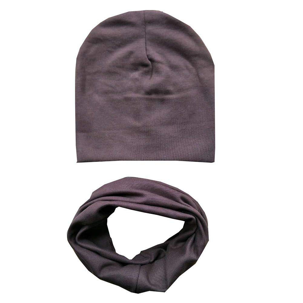 Gyratedream Baby Hat Scarf Set Newborn Turban Knot Hospital Hat Cap Solid Color Neckerchief 2 Pack for 0-3 Years Unisex Kids