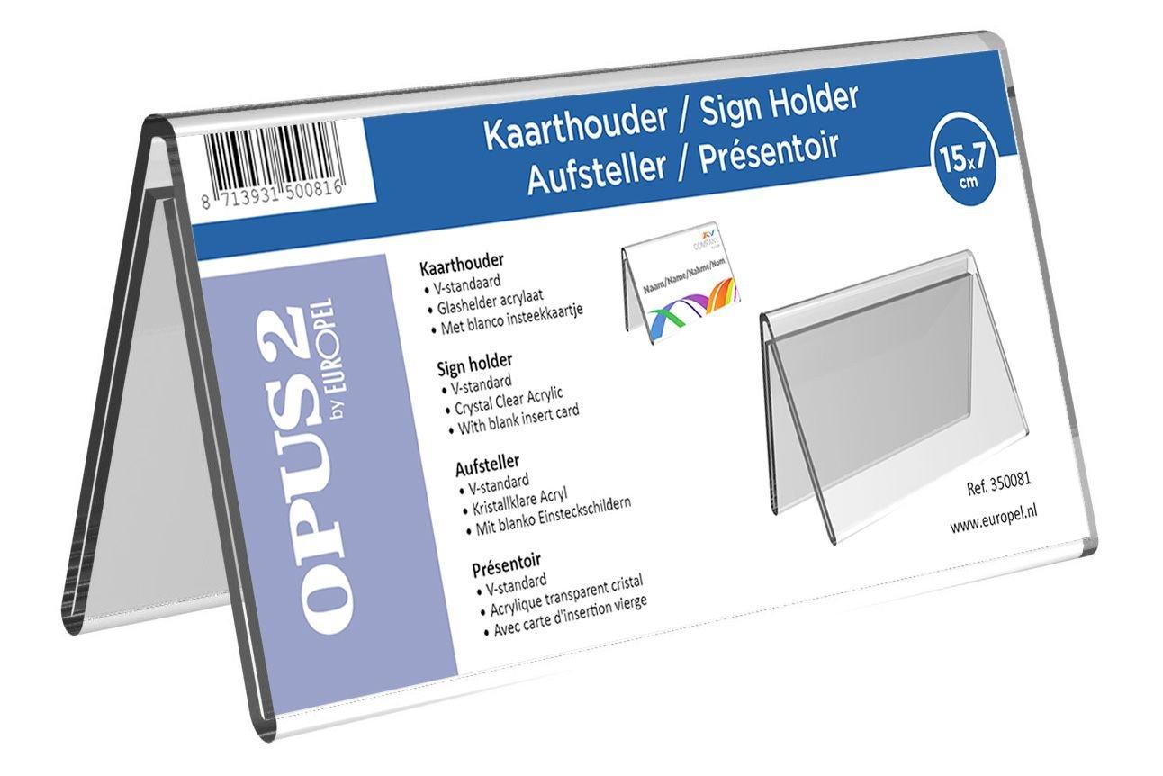 Acryl. Transparent OPUS 2 350080-Tischaufsteller Dachform f/ür beidseitige Pr/äsentation 7 x 10cm