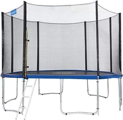 Monzana Trampolín de 366 cm Cama elástica Negro y Azul con Red de Seguridad y Escalera Juego Deporte Exterior jardín: Amazon.es: Deportes y aire libre