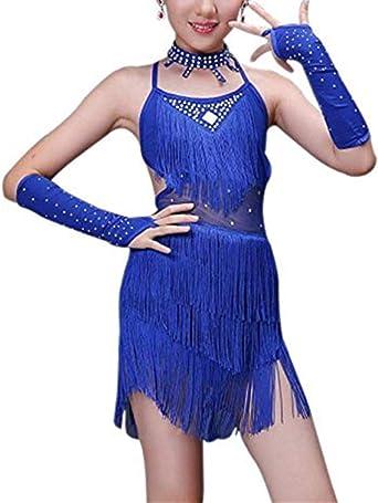 Vestido de Baile Latino Niñas - Fringe Lentejuelas con Cuentas ...