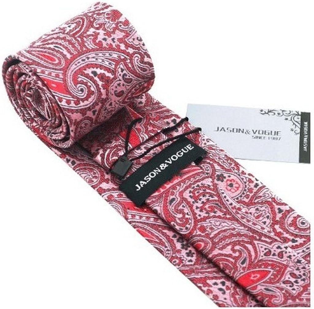 Red Black Paisley Classic Silk Necktie Tie Hanky and Cufflinks Set For Men
